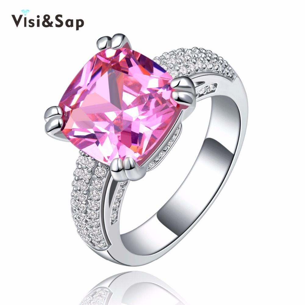 Visisap Pink stone Rings for girl 4 ct cubic zirconia fashion ...
