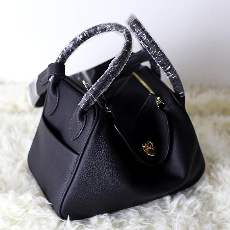 Womens Leather Pillow Shaped Handbag