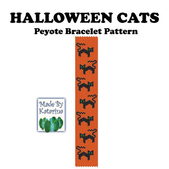 Peyote Bracelet Pattern - Halloween Cats - INSTANT DOWNLOAD PDF ...