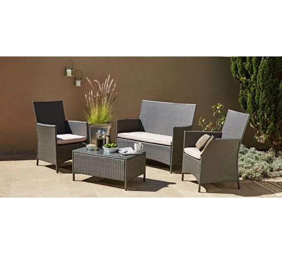 Buy Collection Rattan Effect Grey 3 Seater Highback Sofa Set At Argos Co Uk 249 Garden Table And Chairs Sofa Set Table And Chair Sets