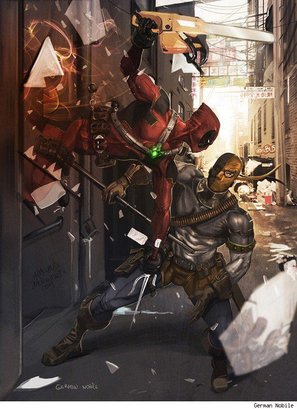Deathstroke is all kinds of awesome. I'd like a picture like this on the wall.