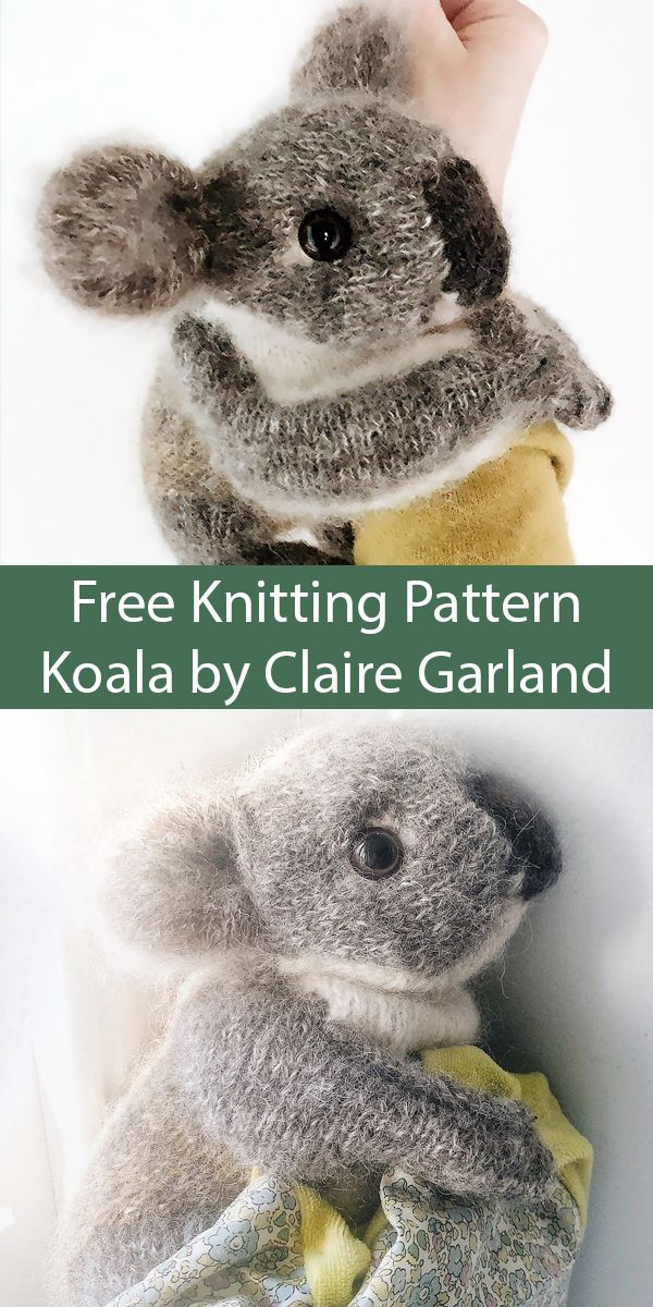 Free Knitting Pattern for Koala Toy 8 inches/ 20 cm Knit Flat