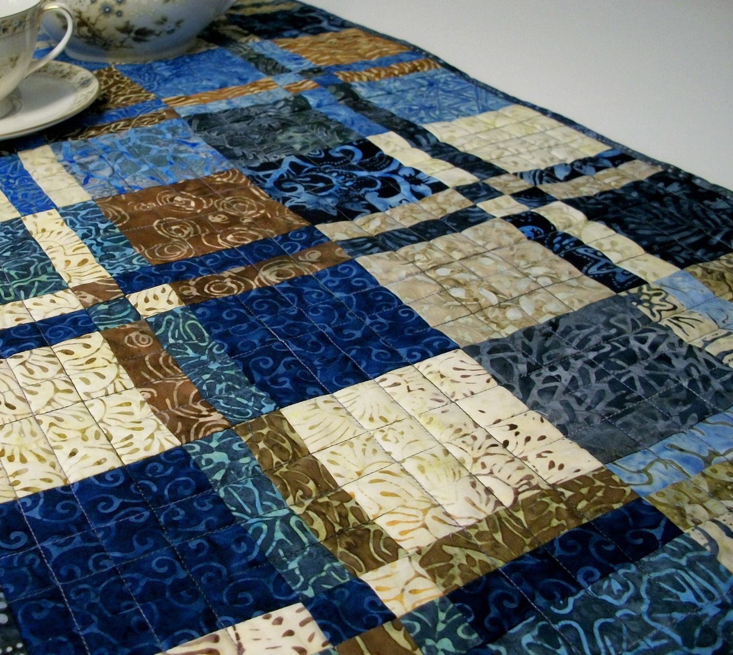 Batik Table Runner Indigo Blue Chocolate Brown Coco Berry Etsy Batik Table Runners Quilted Table Runners Blue Chocolate