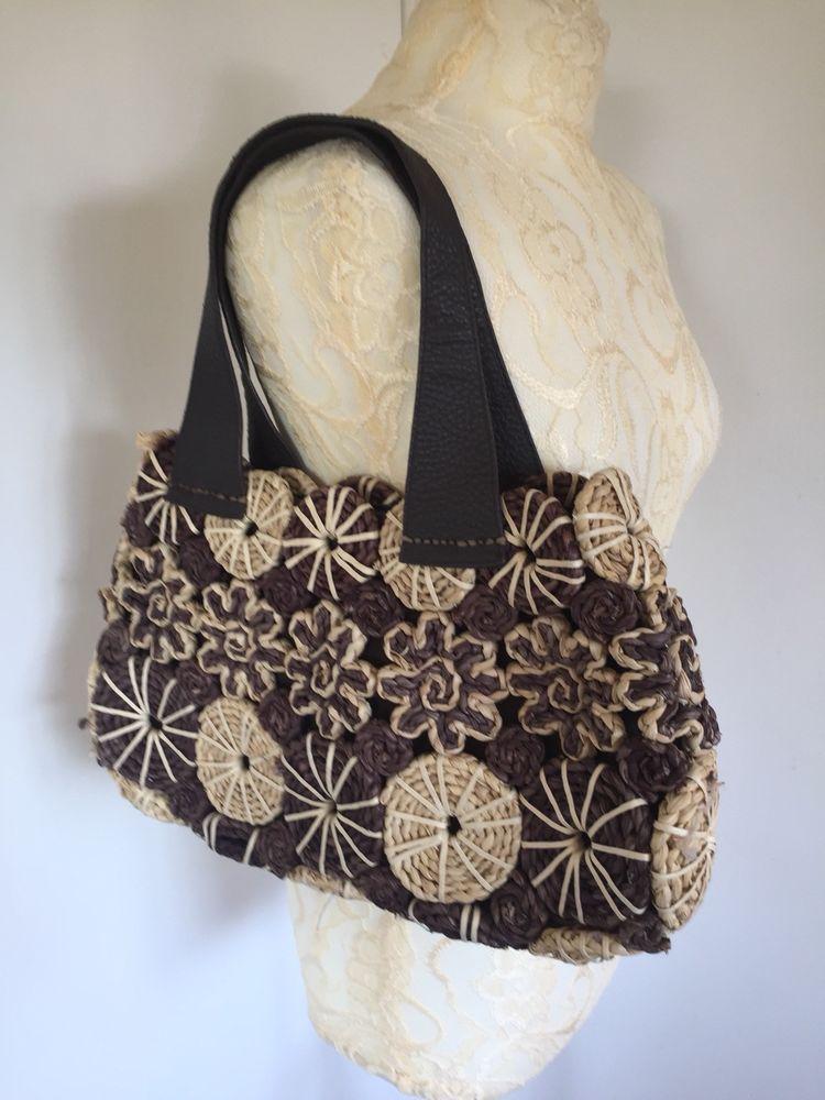 Straw Wicker Handbag Bag Per Una M S Faux Leather Straps Peruna Basketstyle