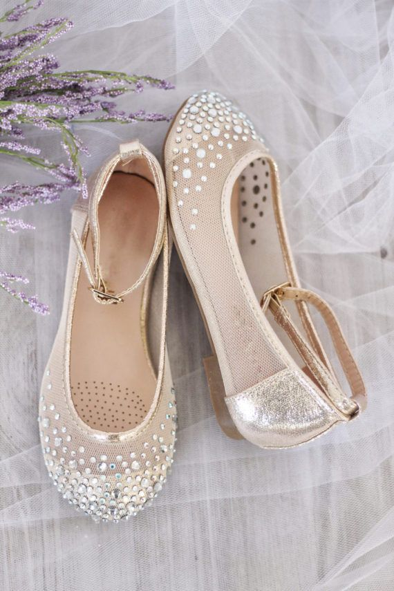 Kids Girls Flat Shoes GOLD Mesh With Rhinestone ballet flats