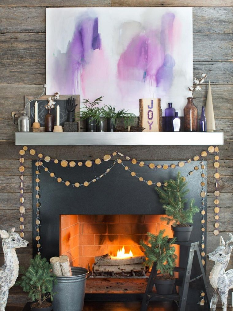guirnalda de madera hecho a mano para decorar la chimenea