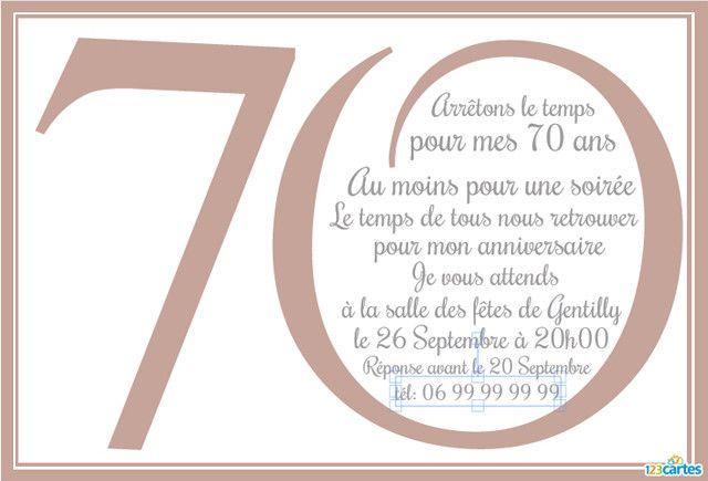 invitation anniversaire 70 ans a
