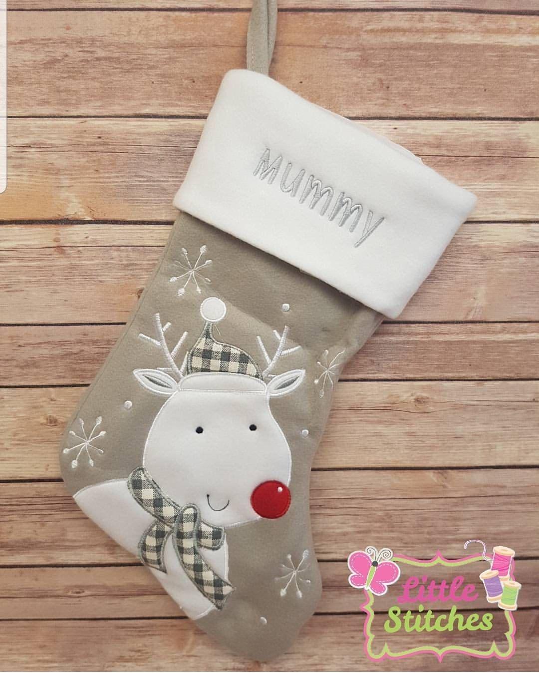 Grey Christmas Stockings Personalised.Christmas Stocking Personalised Grey Christmas Stocking