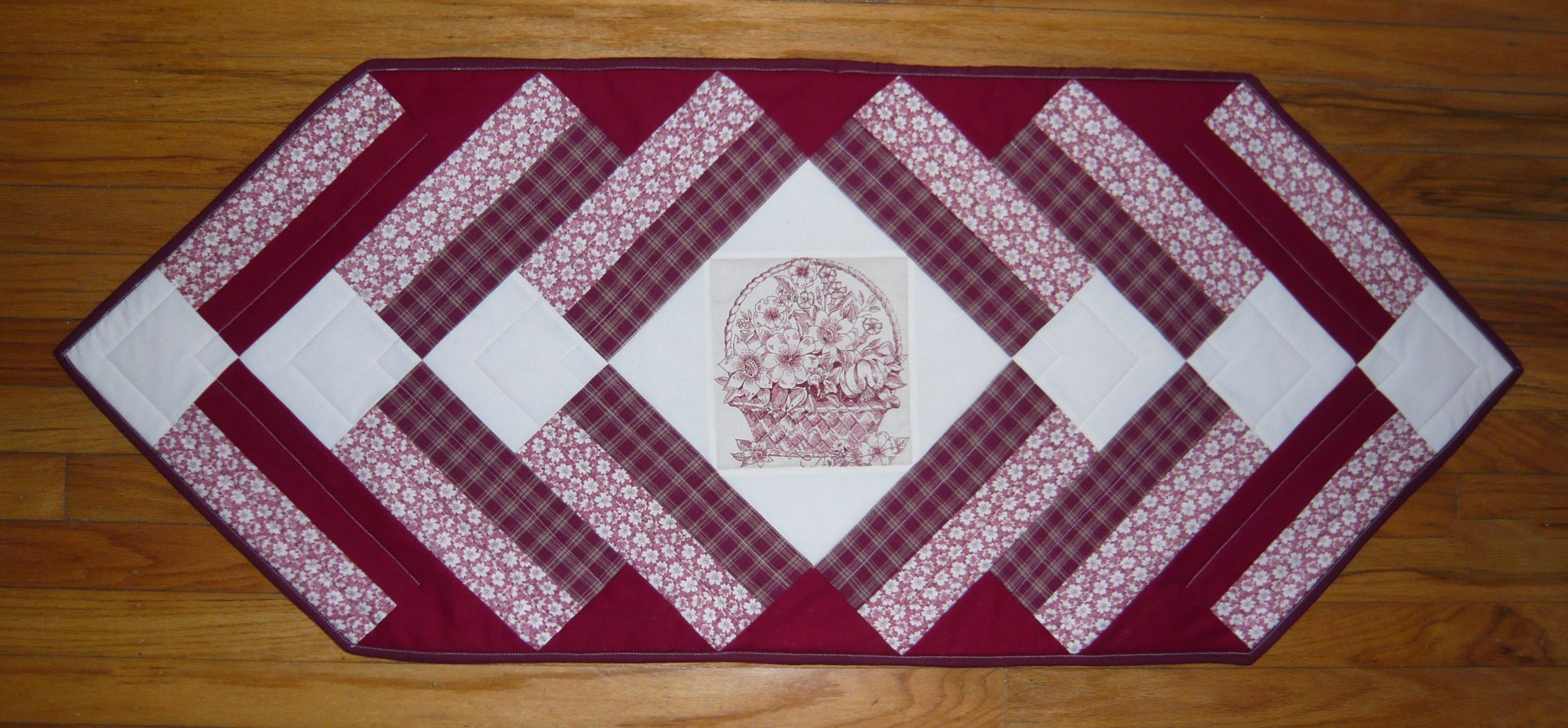 "Burgundy Table Runner -- 18"" x 46"" --  Etsy.....$20.00 - sea68357"