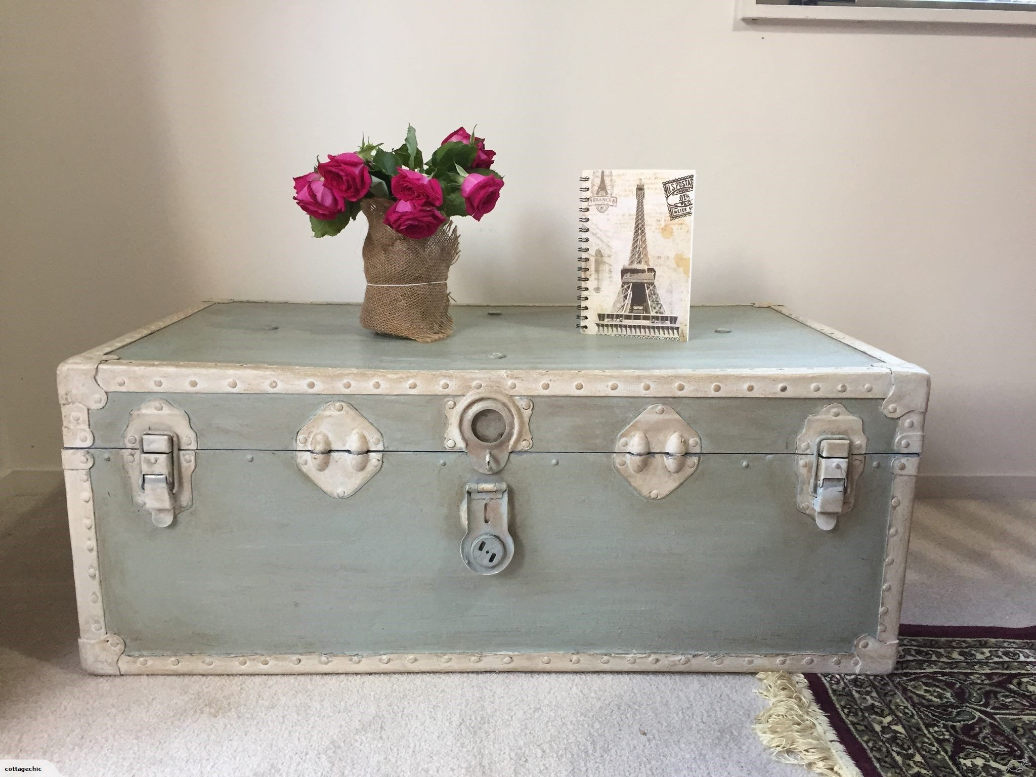 vintage shabby chic trunk coffee table trade me shabby chic