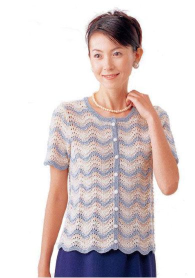 Free knitting pattern for a rippled short sleeve cardigan. Pattern ...