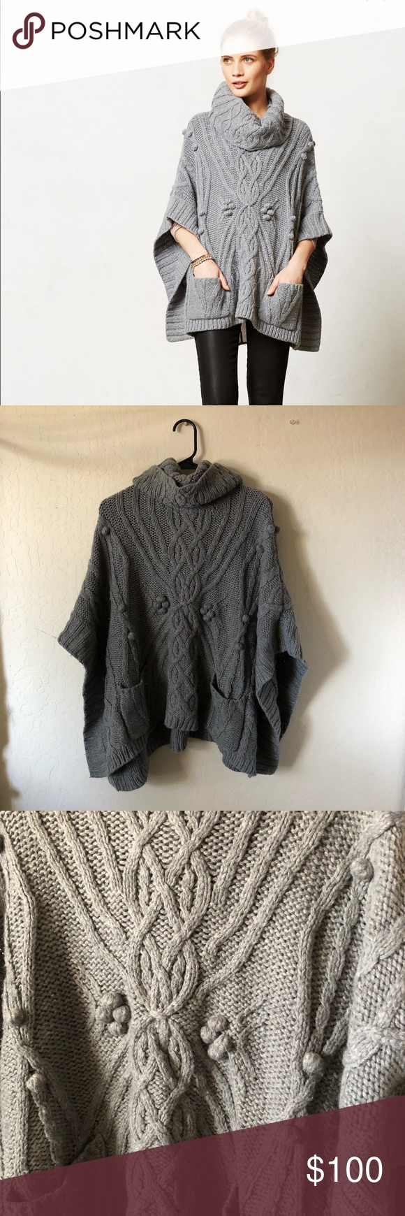 euc anthro knit gray poncho anthropologie sleeping on snow cabled cowl neck/turtleneck knit poncho. has 3D pom poms, buttons on the side of the sleeves, and pockets. truly everything you could want. slight pilling, flawless condition otherwise.   absolutely cozy and super warm. OSFA. measurements, laid flat: 37 pit to pit, 28 length. Anthropologie Sweaters Shrugs & Ponchos