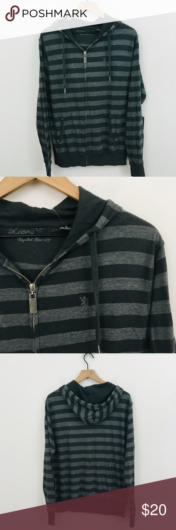 Nwt English Laundry Striped Zip Front Hoodie Laundry Shirts