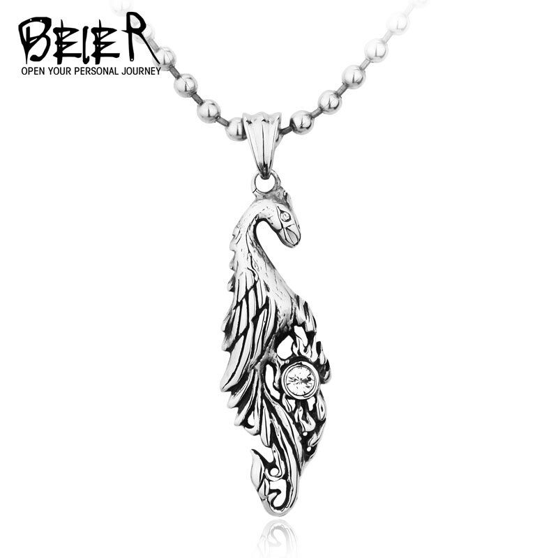 Men/'s Vintage Personality Stainless Steel Phoenix Pendant Charm Chain Necklace