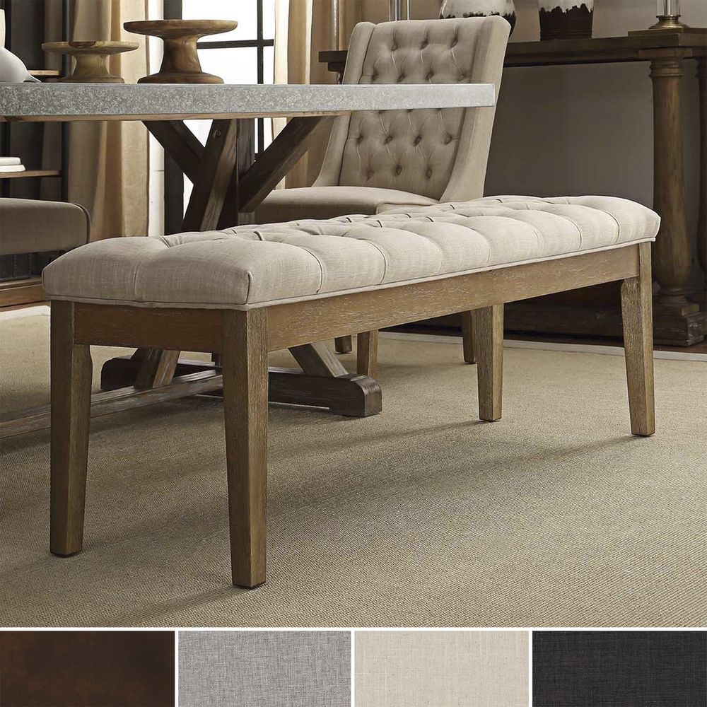 Benchwright Premium Tufted Reclaimed 52-inch Upholstered Bench by iNSPIRE Q  Artisan by iNSPIRE Q