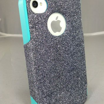 Otterbox Custom iPhone 4 Case, Glitter iPhone 4S Case, iPhone 4 Cover, iPhone 4S Cover, iPhone Cover Smoke Glitter Teal Silicone