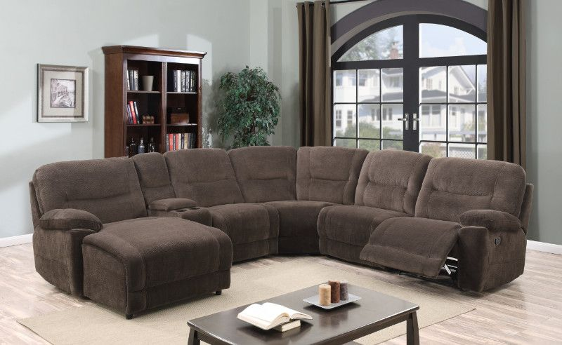 6 Pc Chatanooga Chocolate Champion Fabric Upholstery Sectional Sofa With Chaise And Recliners Sectional Sofa Sectional Sofas Living Room Sectional Sofa With Chaise