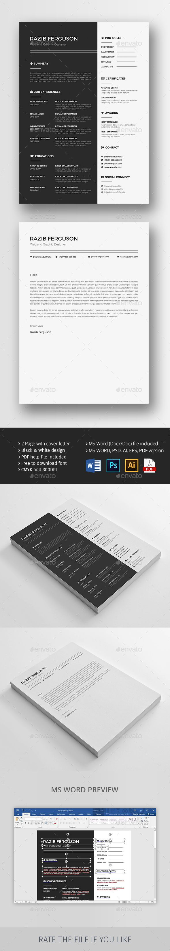 Illustrator Resume Templates Resume  Job Cv Psd Templates And Ai Illustrator