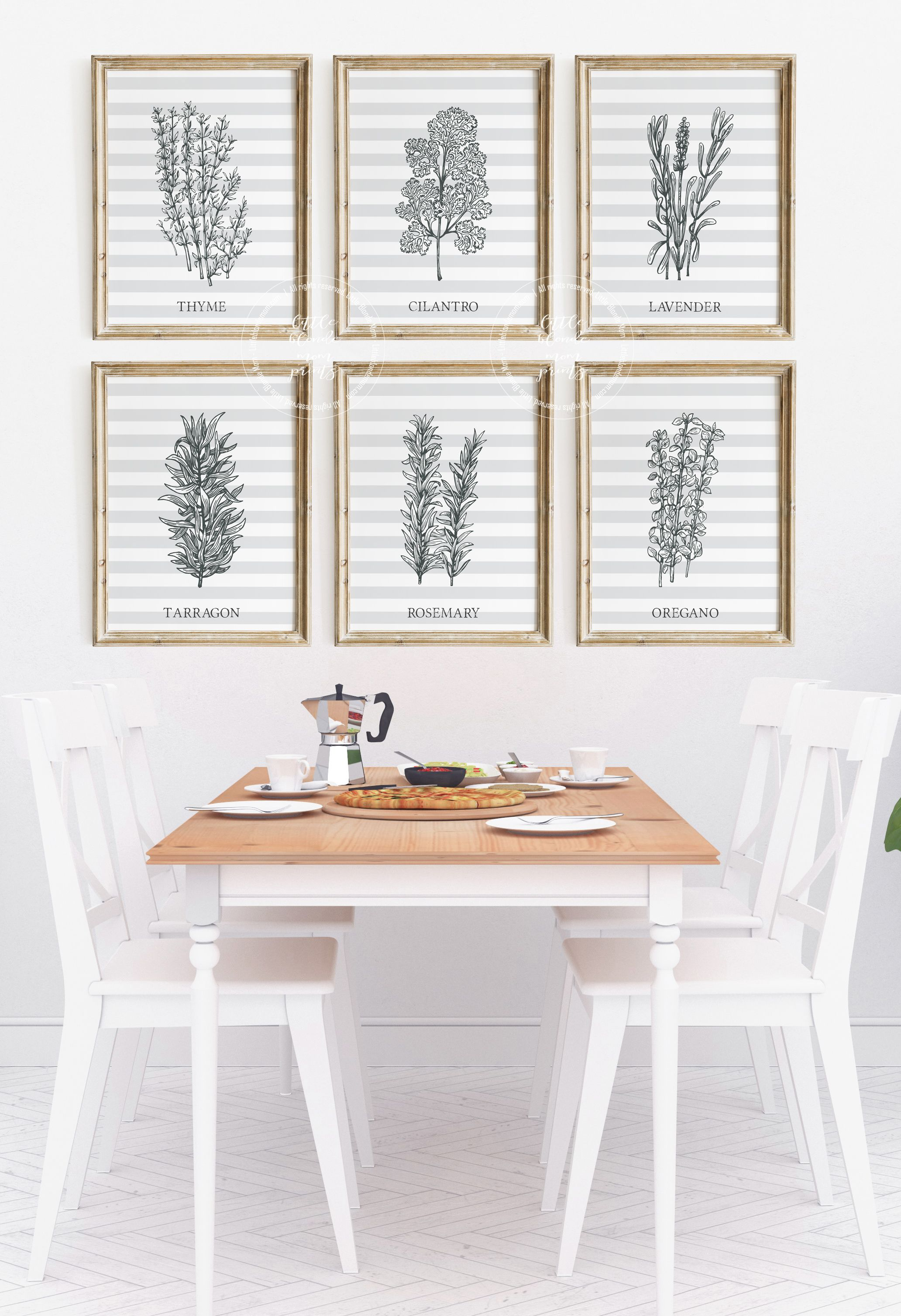 Set Of 6 Prints Kitchen Herb Decor Print Gallery Wall Etsy Dining Room Large