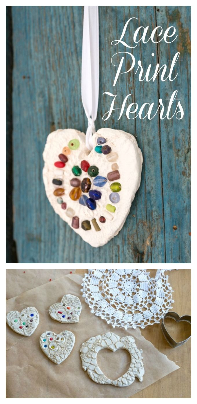 How To Make Lace Hearts From Air Dry Clay For Ornaments Magnets Valentine Crafts For Kids Clay Ornaments Valentine Crafts