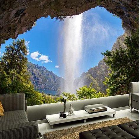 3D Natural Landscape Wonder Dormer Waterfall Wallpaper