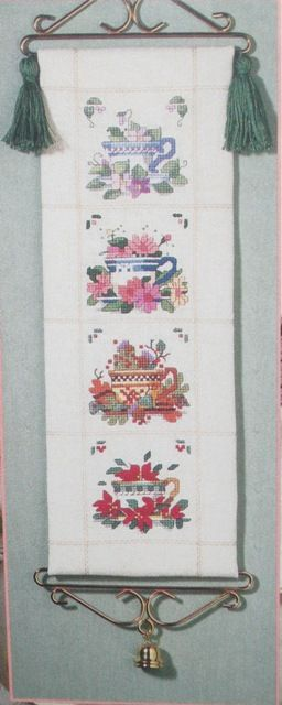 Four seasons tea cups, but I stitched this on chalet cloth with the cups two by two.
