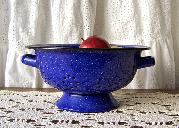 Vintage Enamelware Colander Blue Speckled Colander