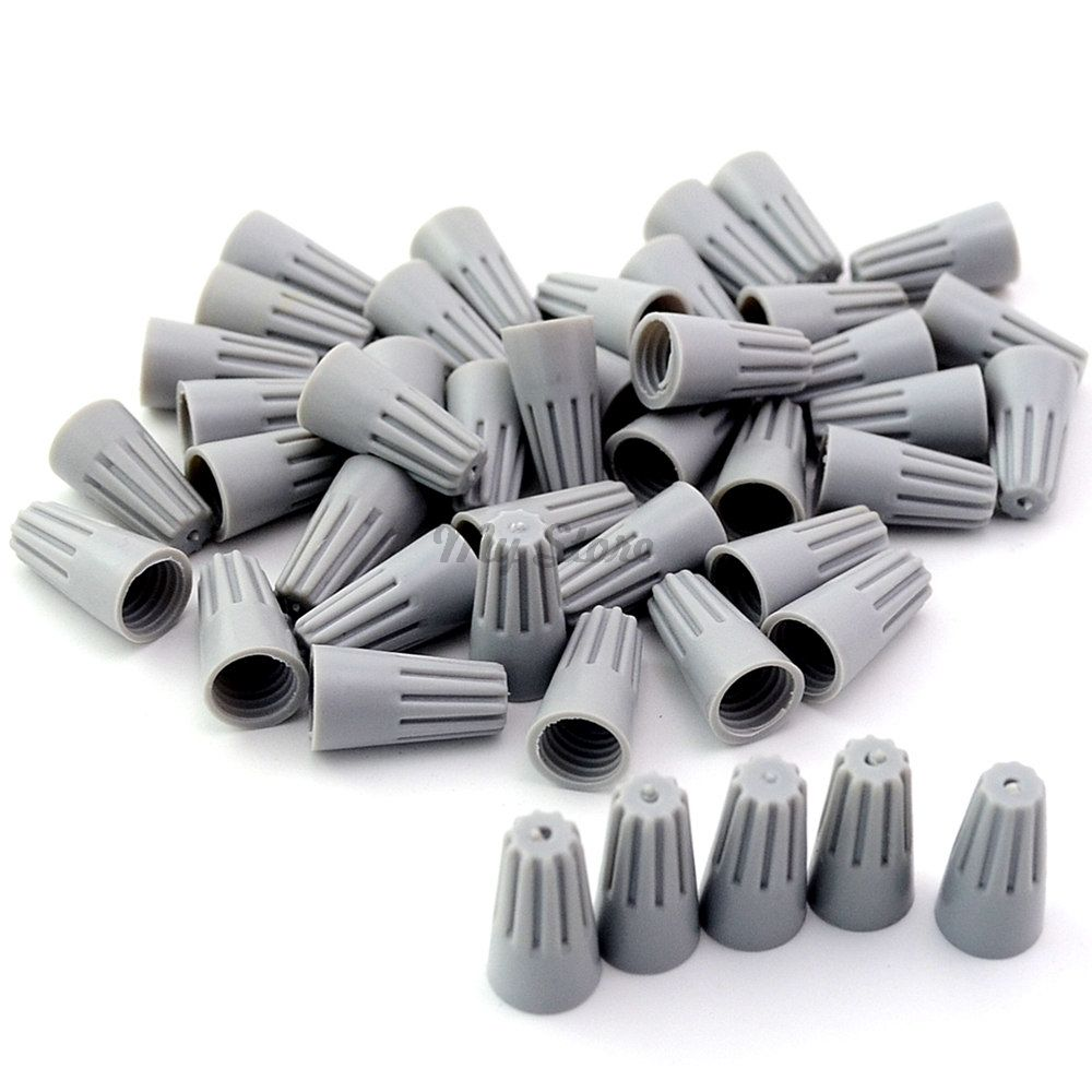 100Pcs P1 Gray Wire Connector Twist-On Terminals Cap Spring Insert ...