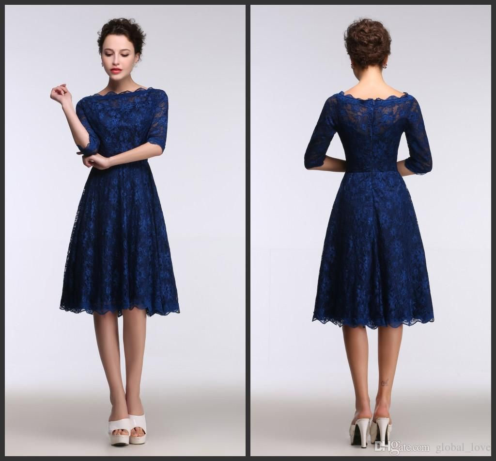 Royal Blue Knee Length Bridesmaid Dresses http://www.lanlanbridals ...