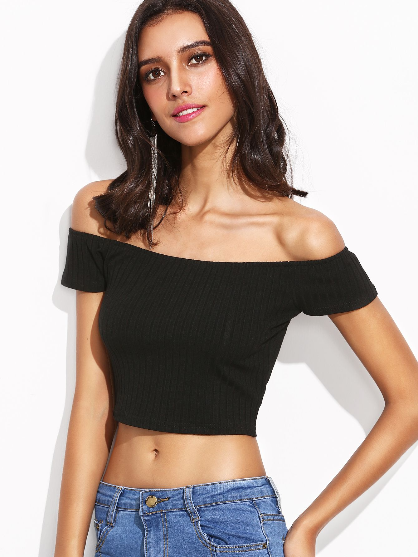 aa45767de804 Shop Black Off The Shoulder Ribbed Crop T-shirt online. SheIn offers Black  Off The Shoulder Ribbed Crop T-shirt   more to fit your fashionable needs.