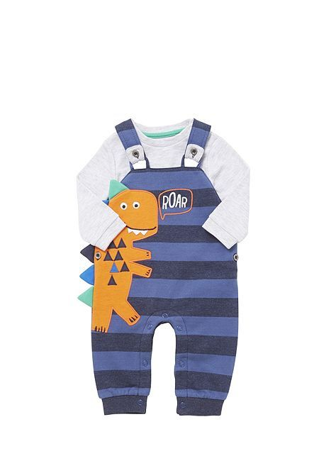 309963a3ba4f8 Tesco direct: F&F Dinosaur Striped Dungarees and Bodysuit Set | Baby ...