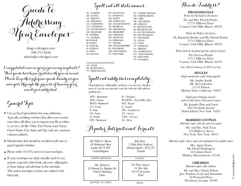 CT-Designs Calligraphy and Wedding Stationery Guide for Addressing - petition sign up sheet template