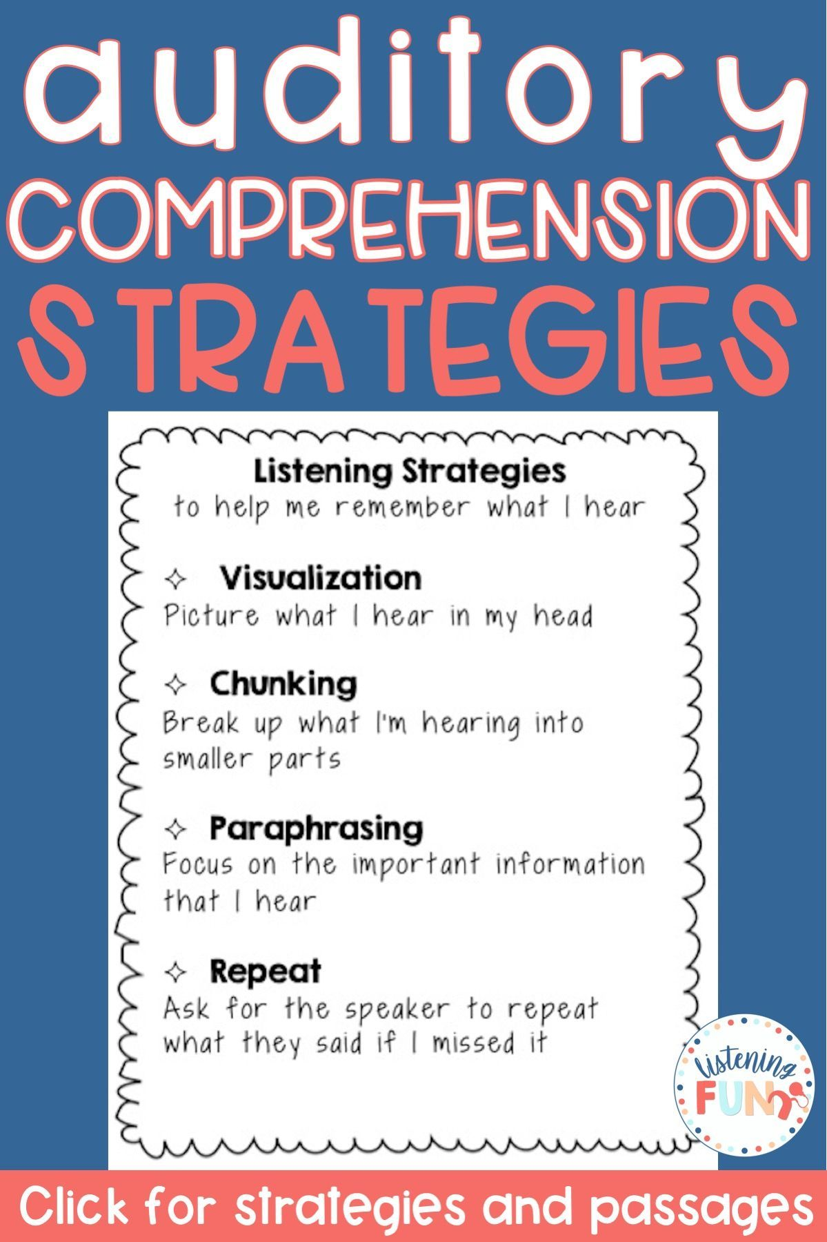 Auditory Comprehension Strategies And Passages No Prep