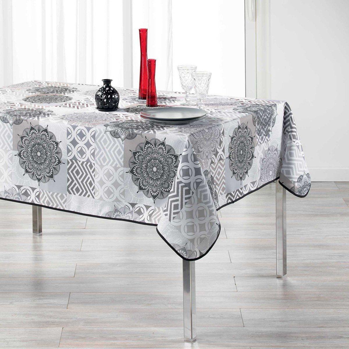 Nappe Rectangulaire 150x240 Cm Antitache Flamenco Gris Taille 150x240 Cm Nappe De Table Decoration Maison