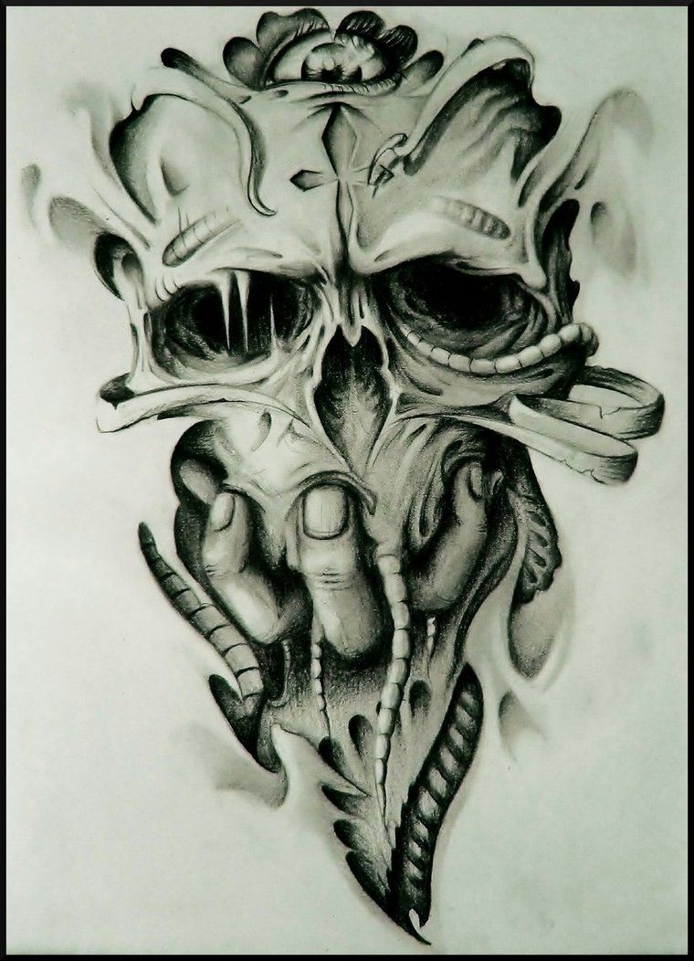 Demonic Skull And Evil Drawings