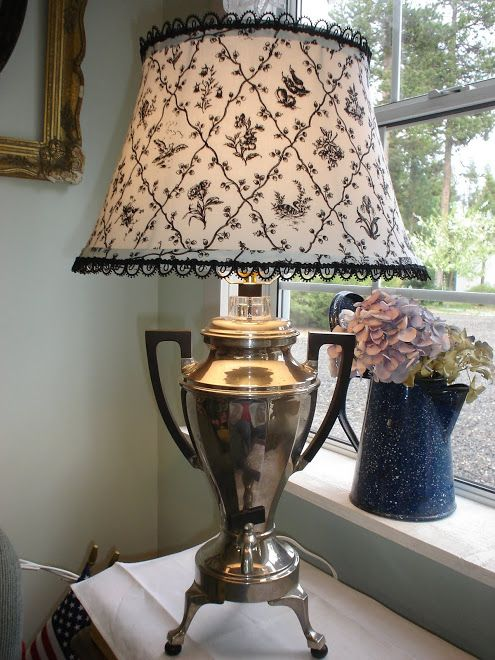 The cutest cottage lamps etc remodel update hankies repurposed vintage coffee urn made into a lamp with a toile shade created by marilyn at the cutest cottage lamps etc at first i thought it was an old trophy aloadofball Gallery