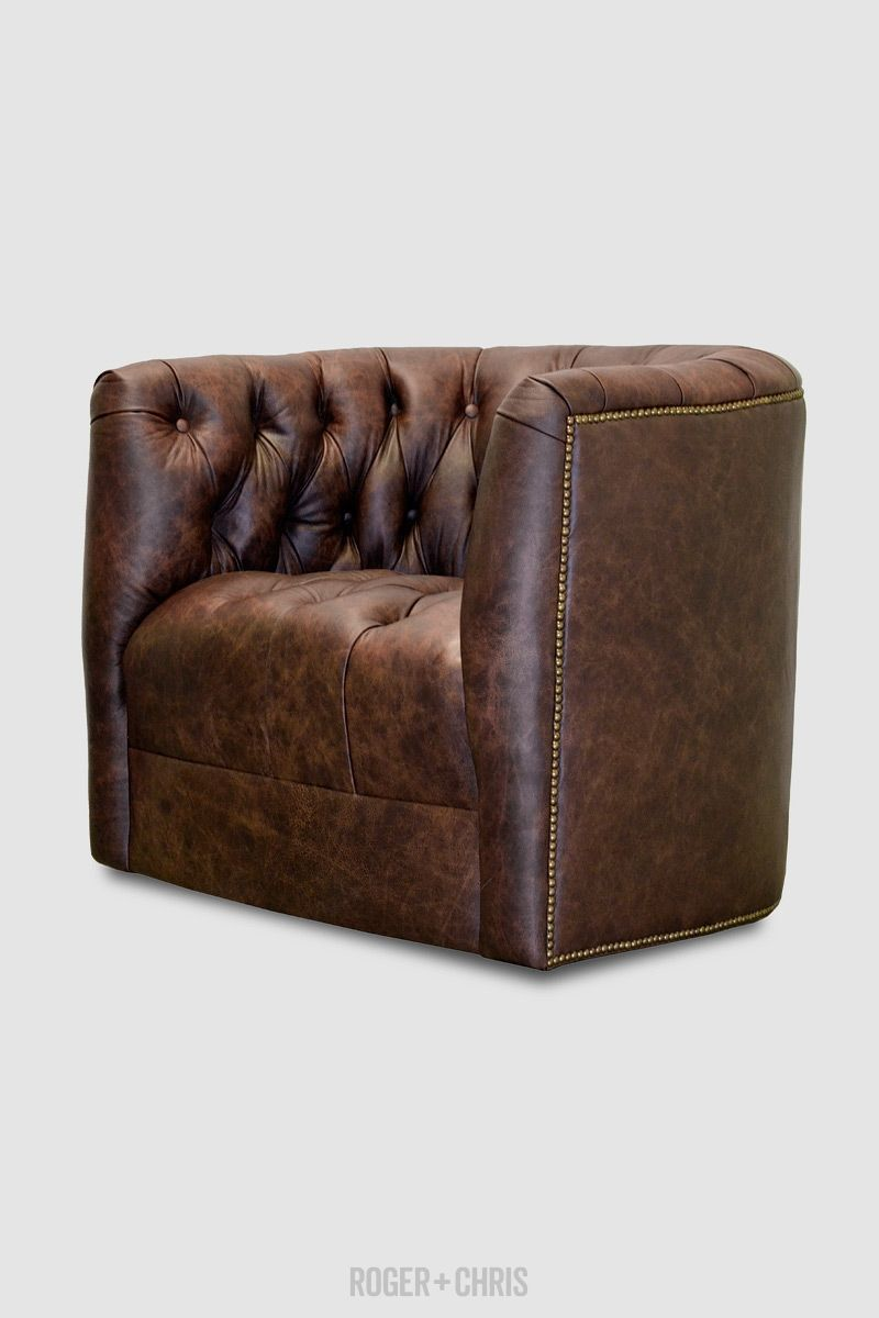 1049 Oliver Tufted Barrel Chair With Or Without Rivets Tacks