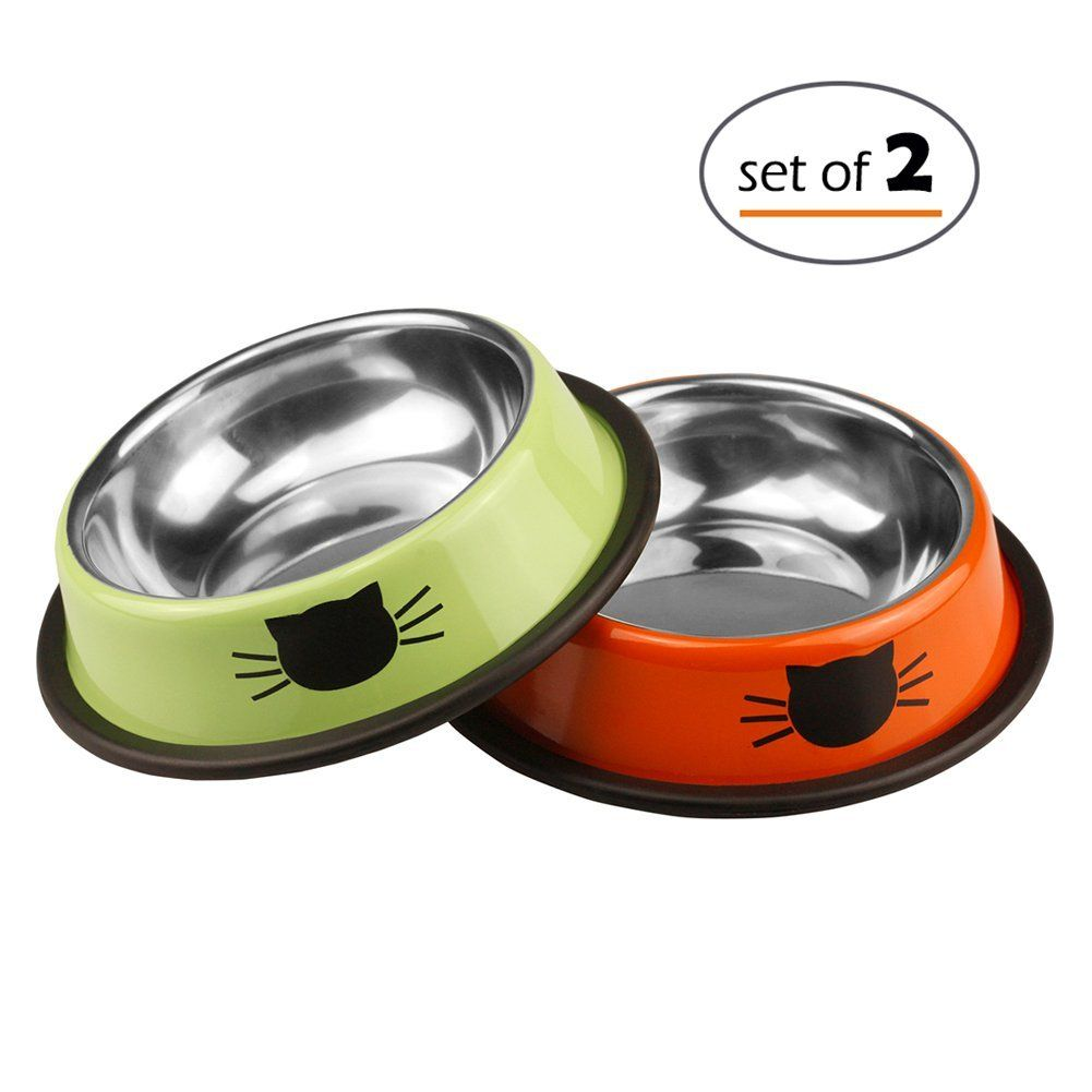 Petfamily Stainless Steel Cat Bowl Heavy Duty Dog Or Cat Dish For