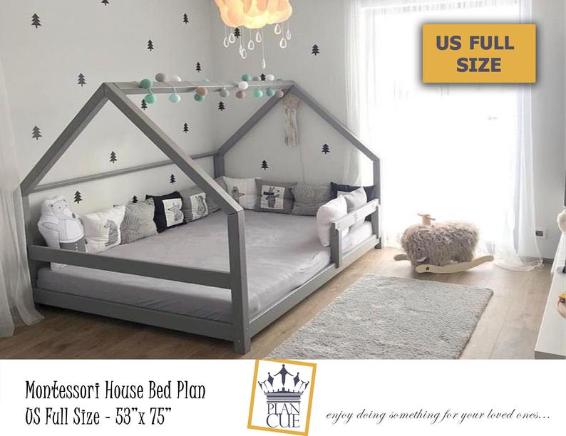 Montessori House Bed Plan Full Size Toddler Bed Wood Bed Etsy