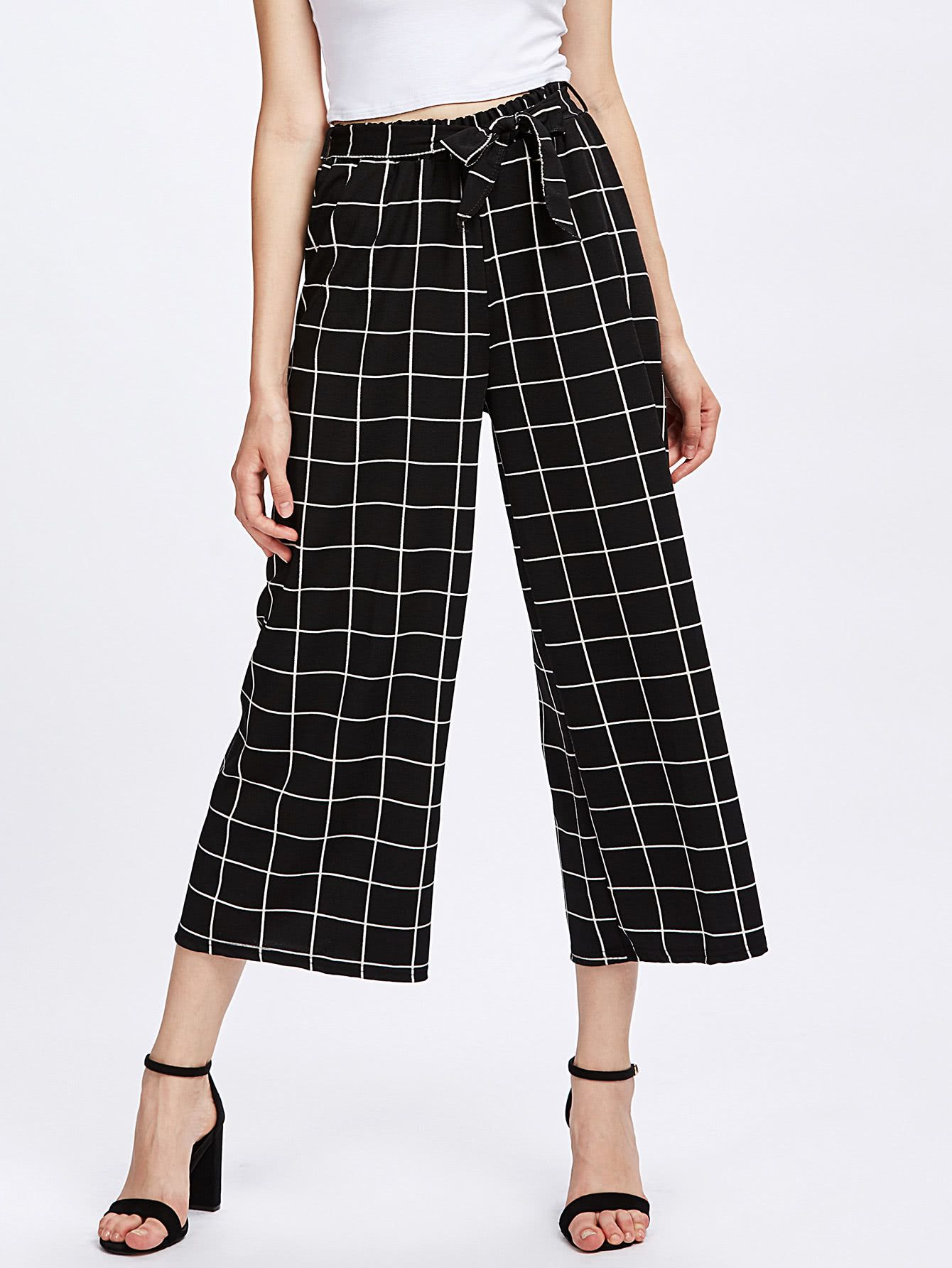 f44548e93d Grid Print Self Tie Wide Leg Pants in 2019 | Pants | Wide leg ...