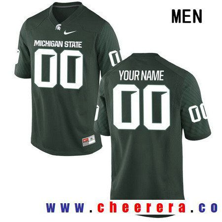60990f7fbe9 Men's Michigan State Spartans Custom College Football Nike Limited Jersey -  Green