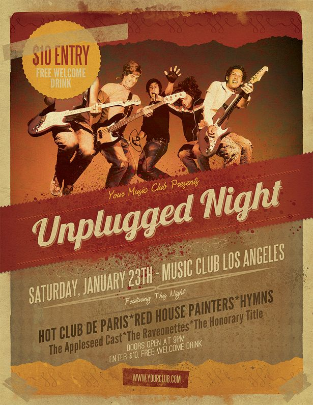 unplugged gig flyer template flyers pinterest layout and