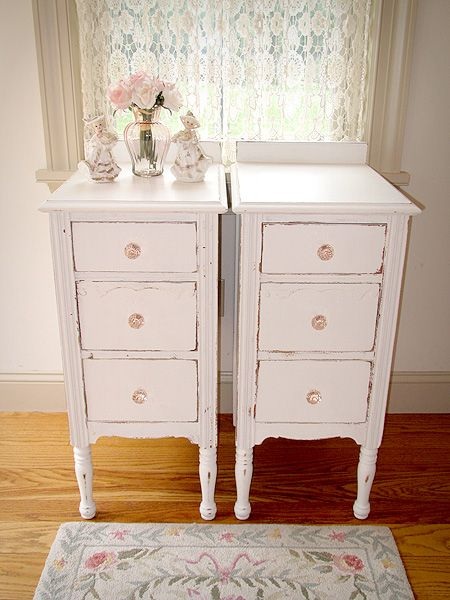 Pink Storage Bins Girls Flower Drawers Chest Dresser: White Matching Nightstands With Pink Glass Knobs