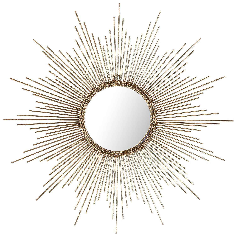 Wire capiz sunburst wall mirror - Petite Gold Burst Round Mirror