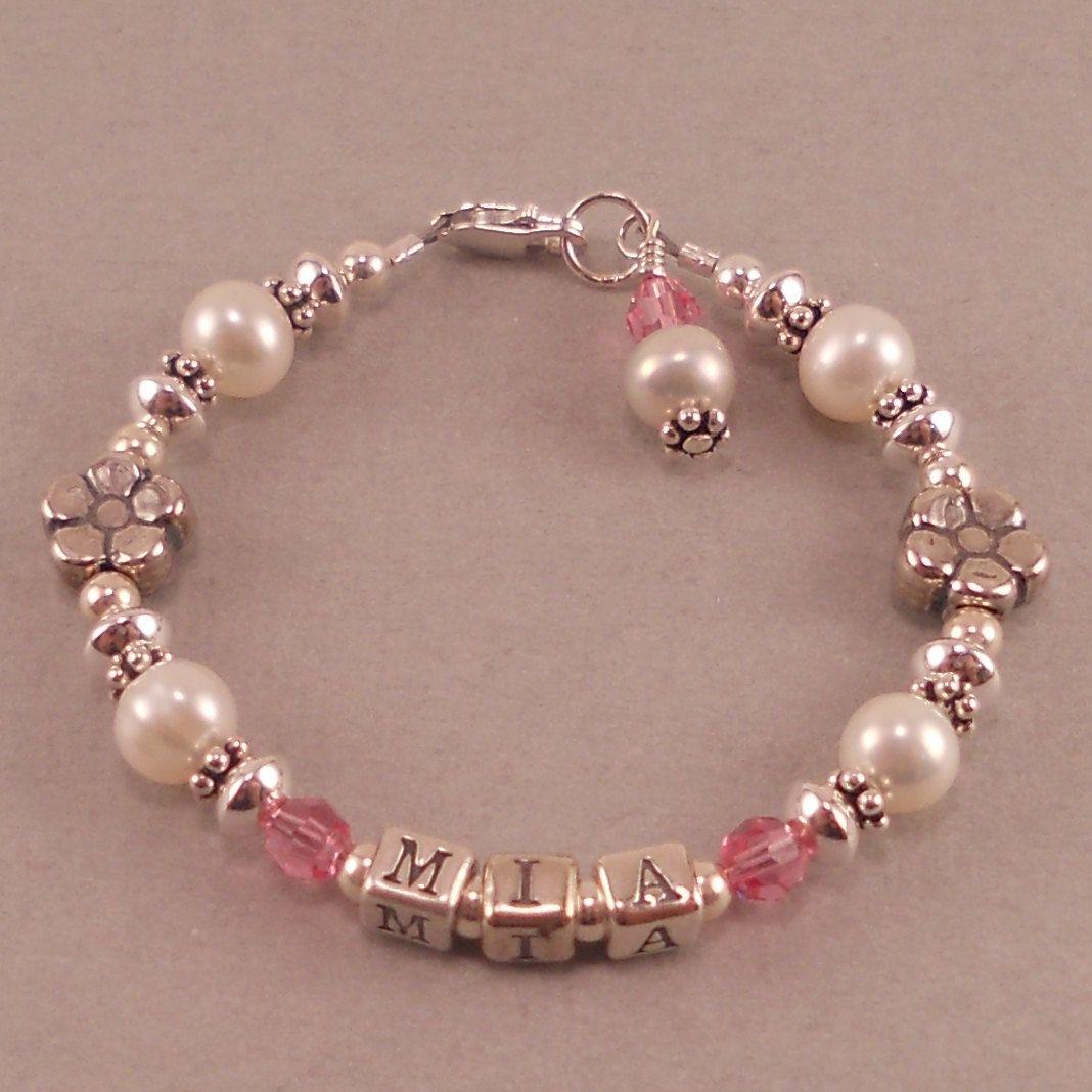 Name bracelet white pearls birthstone personalized custom made