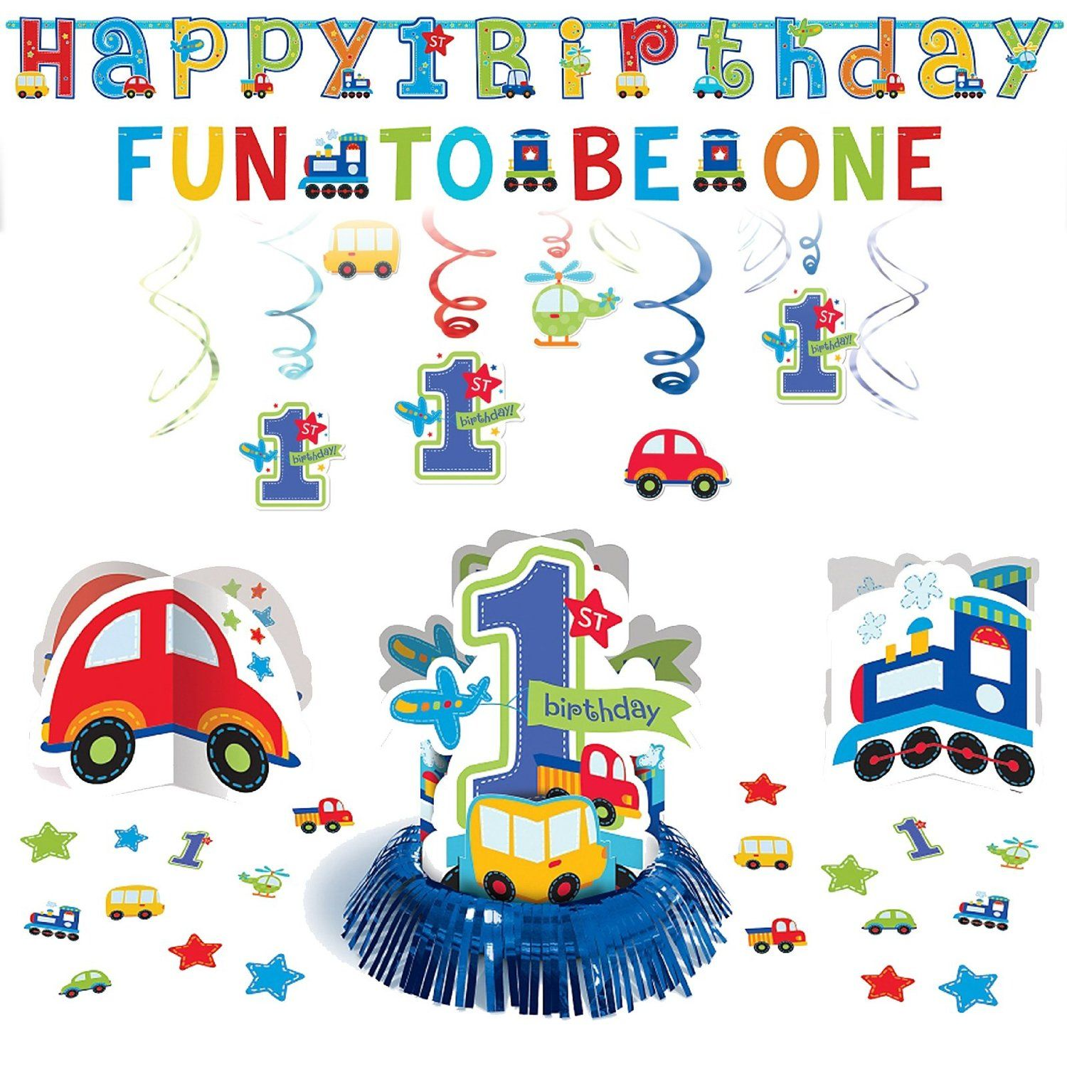 All Aboard Boys 1st Birthday Baby Party Decoration Pack Kit Blue Cars Trains 1st Boy Birthday Baby Party Decorations 1st Birthday