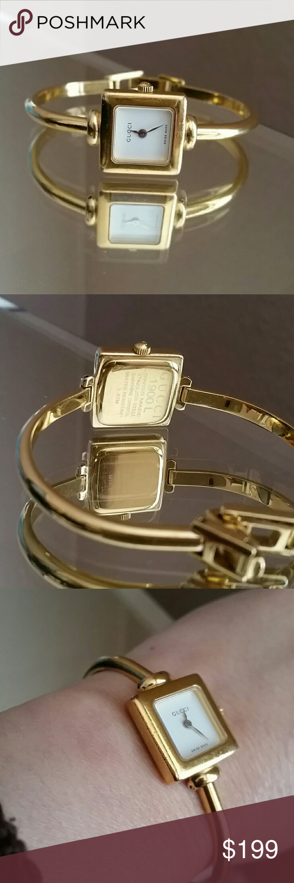 7714453d8cd Authentic Gucci Quartz Square Face Bangle Watch Beautiful rare Gucci watch