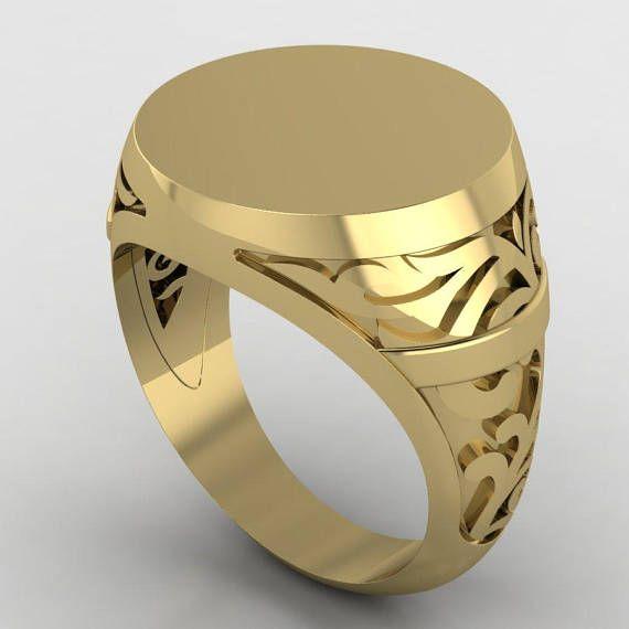 c14546ee4b0cf Gold Engraved ring, Personalized Ring, Signet Ring, men ring ...