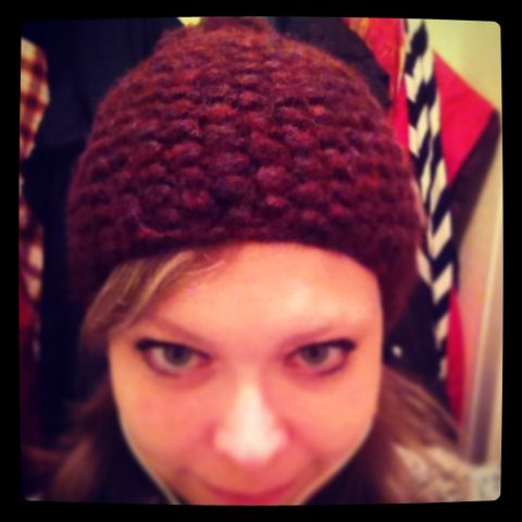 My beanie and me - it's wine red and grey, knitted by myself, my first knitted something! <3