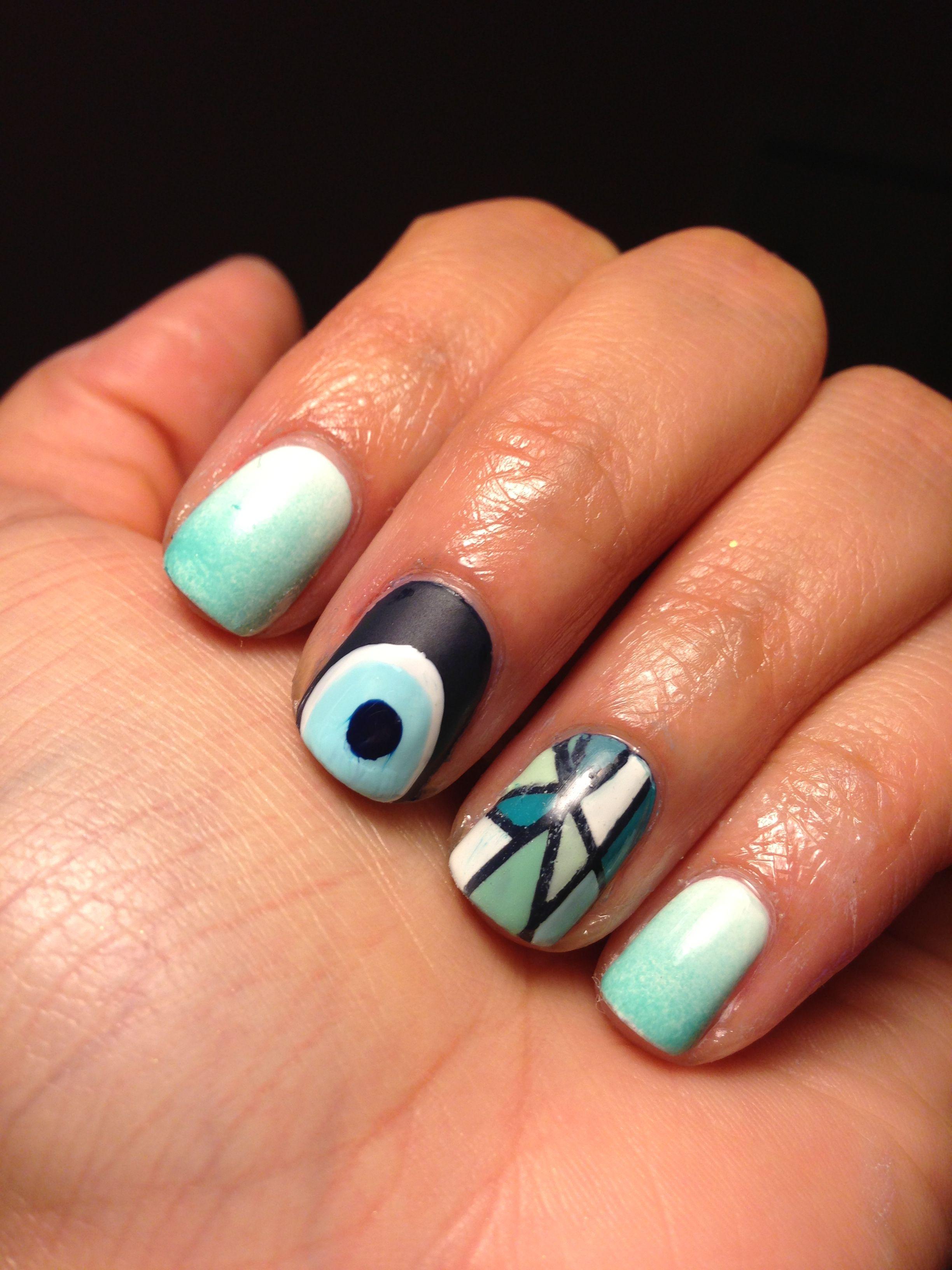 Evil eye/Greek island nails   Nailz   Pinterest
